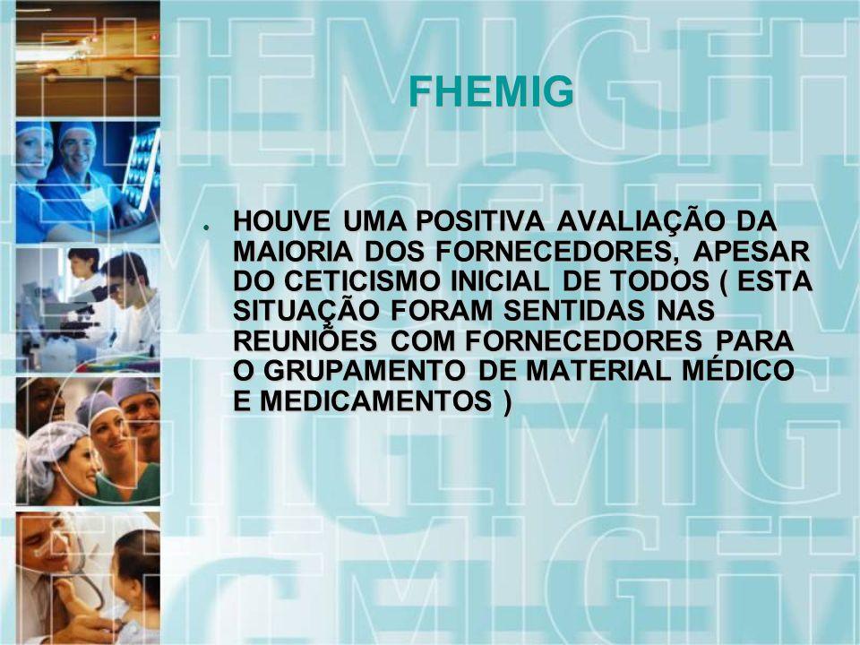 HOUVE UMA POSITIVA AVALIAÇÃO DA MAIORIA DOS FORNECEDORES, APESAR DO CETICISMO INICIAL DE TODOS ( ESTA SITUAÇÃO FORAM SENTIDAS NAS REUNIÕES COM FORNECEDORES PARA O GRUPAMENTO DE MATERIAL MÉDICO E MEDICAMENTOS ) HOUVE UMA POSITIVA AVALIAÇÃO DA MAIORIA DOS FORNECEDORES, APESAR DO CETICISMO INICIAL DE TODOS ( ESTA SITUAÇÃO FORAM SENTIDAS NAS REUNIÕES COM FORNECEDORES PARA O GRUPAMENTO DE MATERIAL MÉDICO E MEDICAMENTOS ) FHEMIG