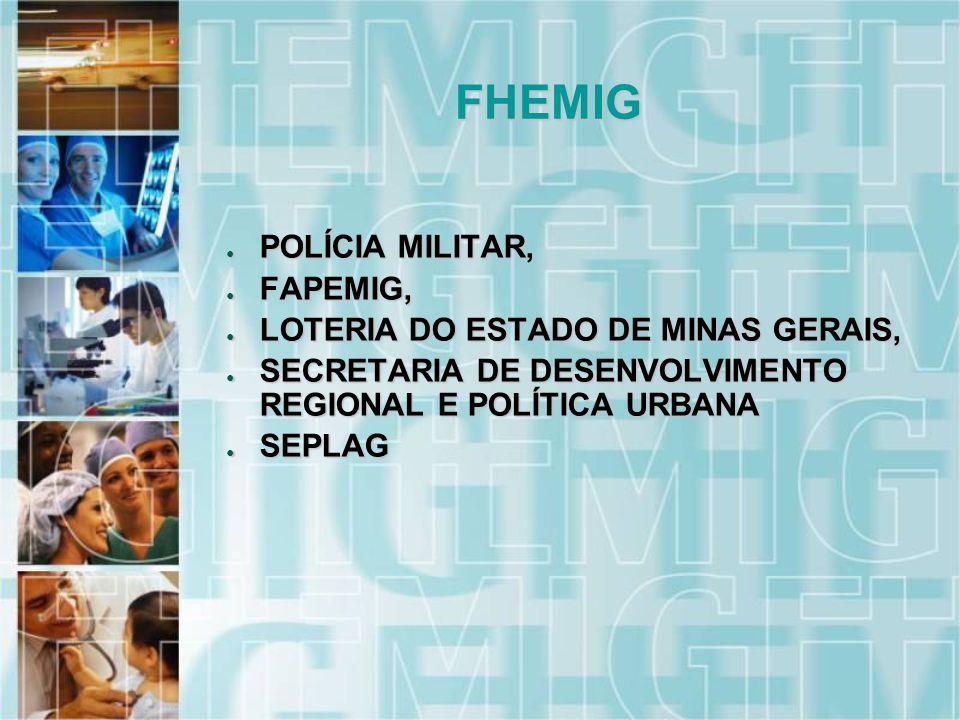 POLÍCIA MILITAR, POLÍCIA MILITAR, FAPEMIG, FAPEMIG, LOTERIA DO ESTADO DE MINAS GERAIS, LOTERIA DO ESTADO DE MINAS GERAIS, SECRETARIA DE DESENVOLVIMENTO REGIONAL E POLÍTICA URBANA SECRETARIA DE DESENVOLVIMENTO REGIONAL E POLÍTICA URBANA SEPLAG SEPLAG FHEMIG
