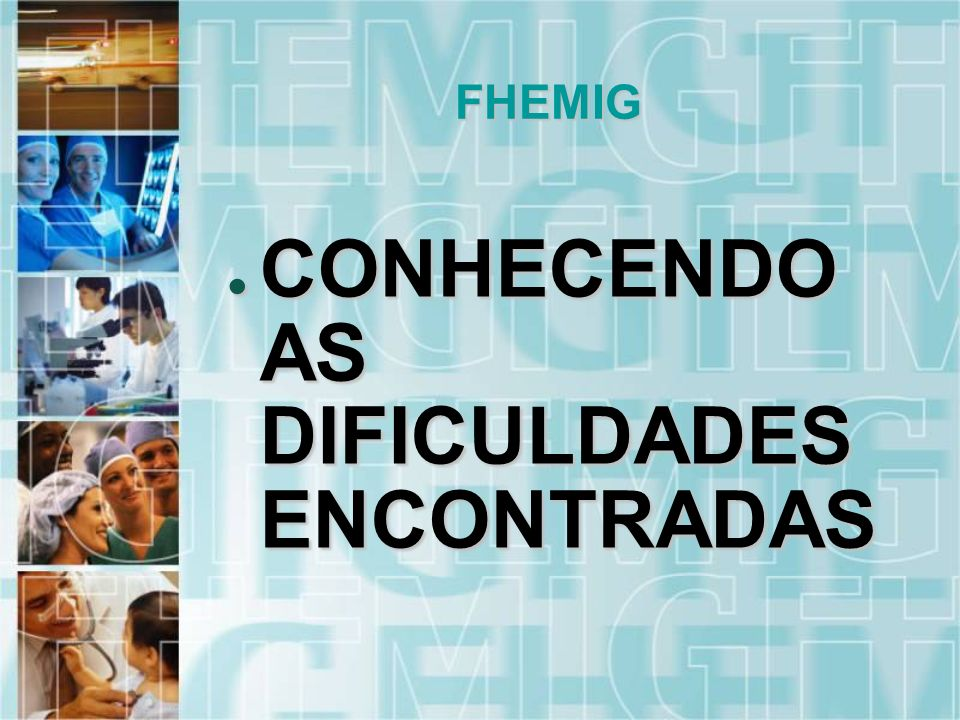 CONHECENDO AS DIFICULDADES ENCONTRADAS CONHECENDO AS DIFICULDADES ENCONTRADAS FHEMIG
