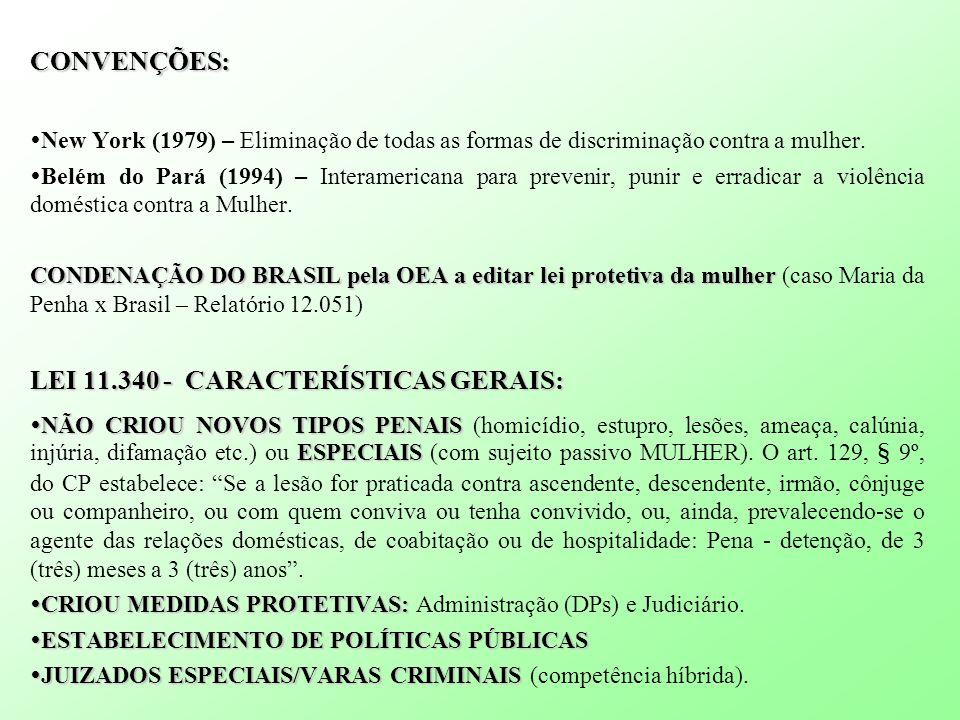 CONVENÇÕES: New York (1979) – Eliminação de todas as formas de discriminação contra a mulher. Belém do Pará (1994) – Interamericana para prevenir, pun