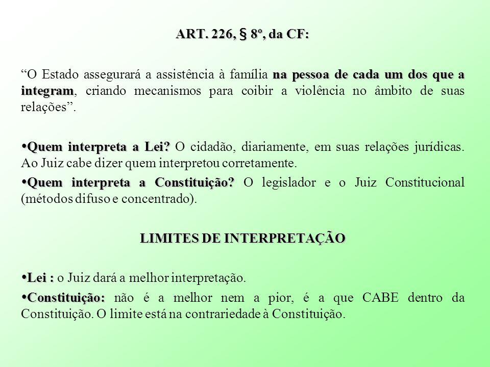 ART. 226, § 8º, da CF: na pessoa de cada um dos que a integram O Estado assegurará a assistência à família na pessoa de cada um dos que a integram, cr