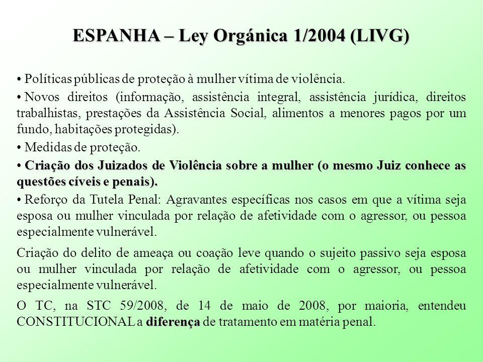 ESPANHA – Ley Orgánica 1/2004 (LIVG) Políticas públicas de proteção à mulher vítima de violência. Novos direitos (informação, assistência integral, as