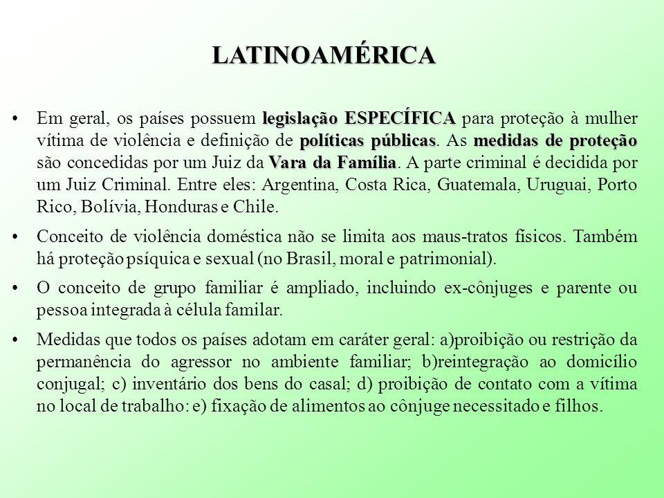 LATINOAMÉRICA legislação ESPECÍFICA políticas públicasmedidas de proteção Vara da FamíliaEm geral, os países possuem legislação ESPECÍFICA para proteção à mulher vítima de violência e definição de políticas públicas.