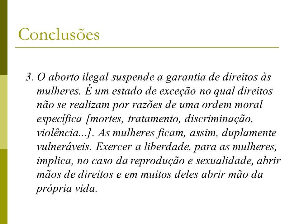 3. O aborto ilegal suspende a garantia de direitos às mulheres. É um estado de exceção no qual direitos não se realizam por razões de uma ordem moral