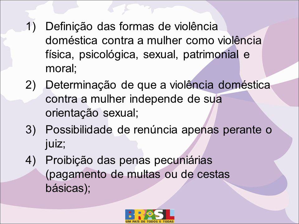 1)Definição das formas de violência doméstica contra a mulher como violência física, psicológica, sexual, patrimonial e moral; 2)Determinação de que a violência doméstica contra a mulher independe de sua orientação sexual; 3)Possibilidade de renúncia apenas perante o juiz; 4)Proibição das penas pecuniárias (pagamento de multas ou de cestas básicas);