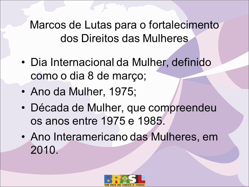 Dia Internacional da Mulher, definido como o dia 8 de março; Ano da Mulher, 1975; Década de Mulher, que compreendeu os anos entre 1975 e 1985.