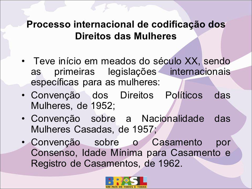 Processo internacional de codificação dos Direitos das Mulheres Teve início em meados do século XX, sendo as primeiras legislações internacionais específicas para as mulheres: Convenção dos Direitos Políticos das Mulheres, de 1952; Convenção sobre a Nacionalidade das Mulheres Casadas, de 1957; Convenção sobre o Casamento por Consenso, Idade Mínima para Casamento e Registro de Casamentos, de 1962.