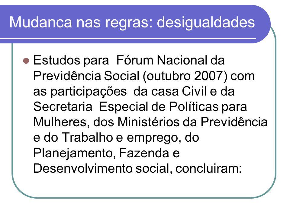 Mudanca nas regras: desigualdades Estudos para Fórum Nacional da Previdência Social (outubro 2007) com as participações da casa Civil e da Secretaria