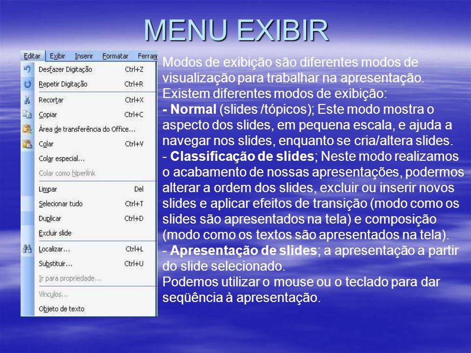 MENU EXIBIR Modos de exibição são diferentes modos de visualização para trabalhar na apresentação.