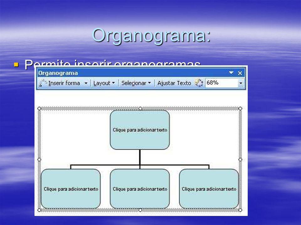 Organograma: Permite inserir organogramas. Permite inserir organogramas.