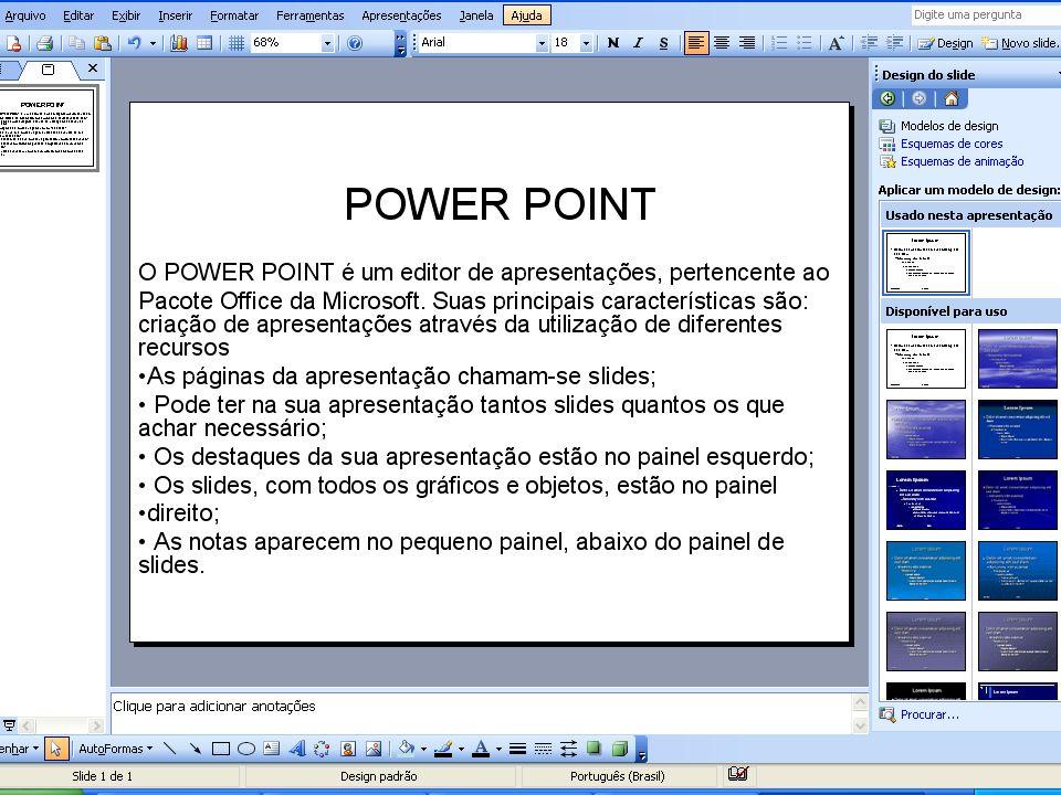 POWER POINT 2003 Através de ferramentas poderosas, odemos preparar apresentações profissionais de forma simples e rápida.