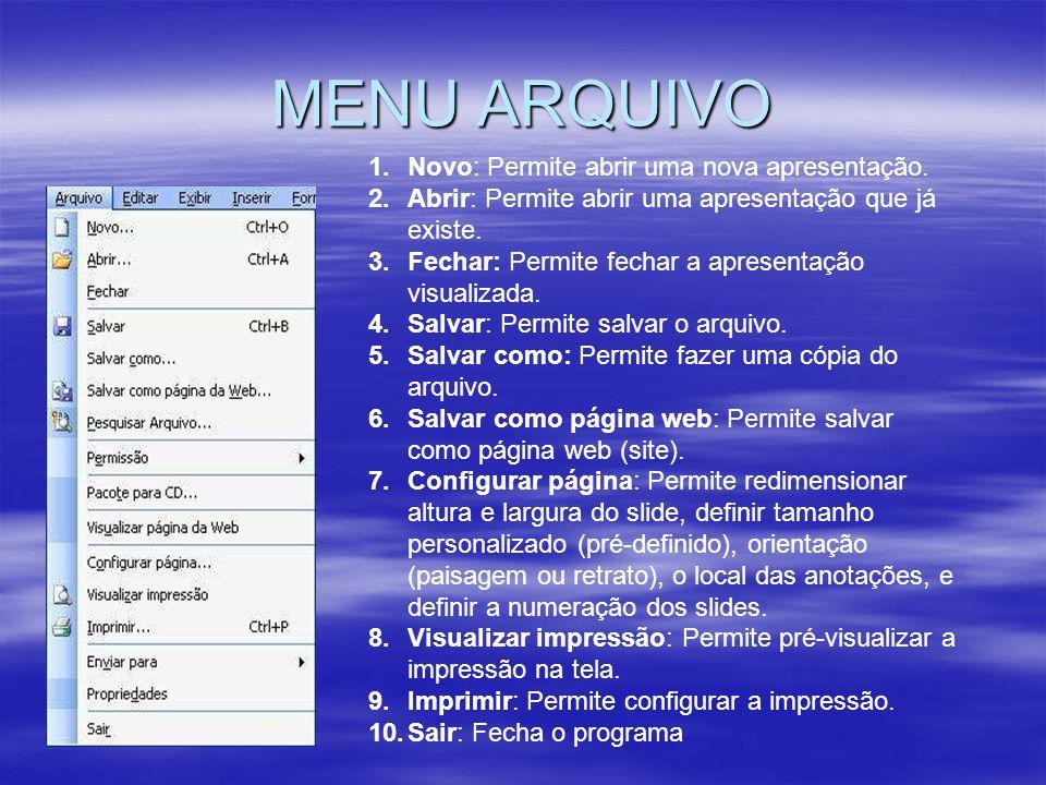 MENU ARQUIVO 1.Novo: Permite abrir uma nova apresentação.