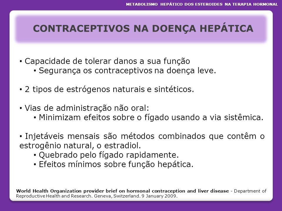 CONTRACEPTIVOS NA DOENÇA HEPÁTICA Capacidade de tolerar danos a sua função Segurança os contraceptivos na doença leve. 2 tipos de estrógenos naturais