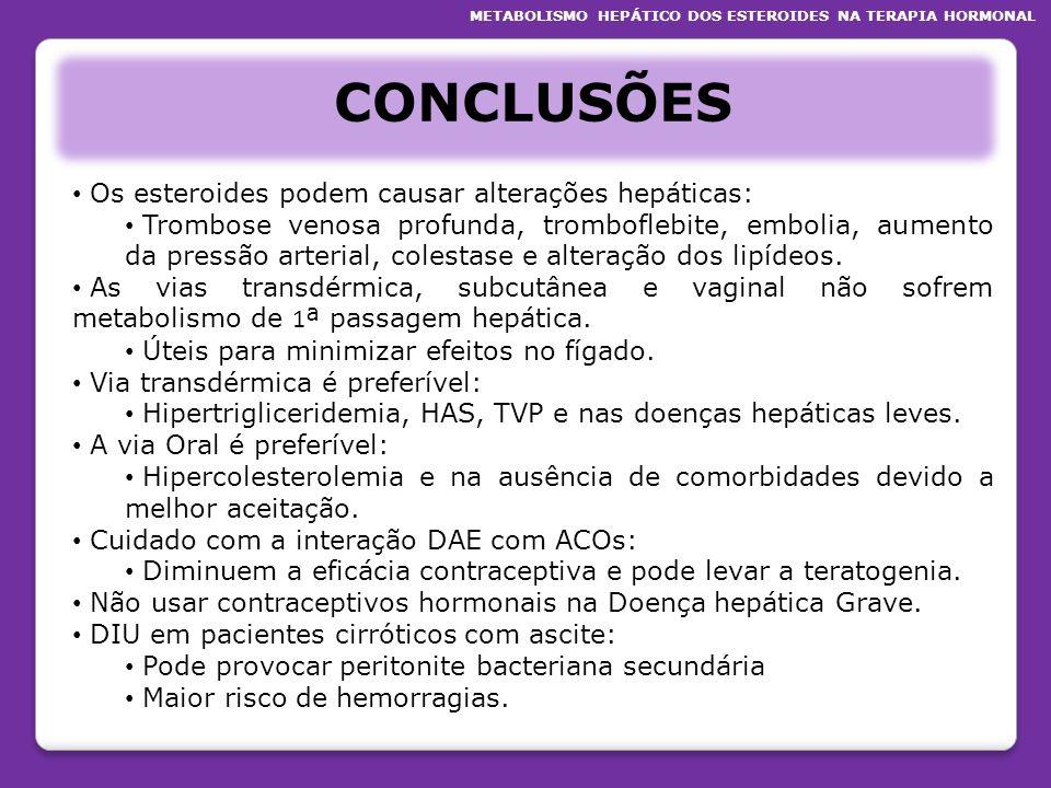 CONCLUSÕES Os esteroides podem causar alterações hepáticas: Trombose venosa profunda, tromboflebite, embolia, aumento da pressão arterial, colestase e
