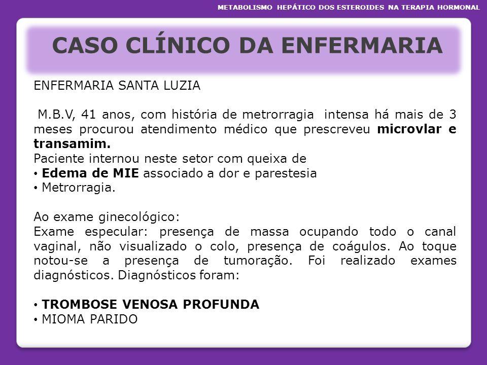 CASO CLÍNICO DA ENFERMARIA ENFERMARIA SANTA LUZIA M.B.V, 41 anos, com história de metrorragia intensa há mais de 3 meses procurou atendimento médico q