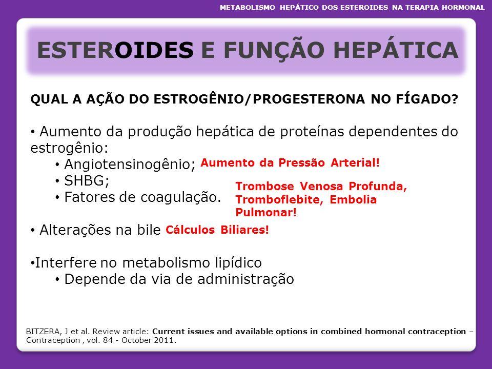 ESTEROIDES E FUNÇÃO HEPÁTICA QUAL A AÇÃO DO ESTROGÊNIO/PROGESTERONA NO FÍGADO? Aumento da produção hepática de proteínas dependentes do estrogênio: An