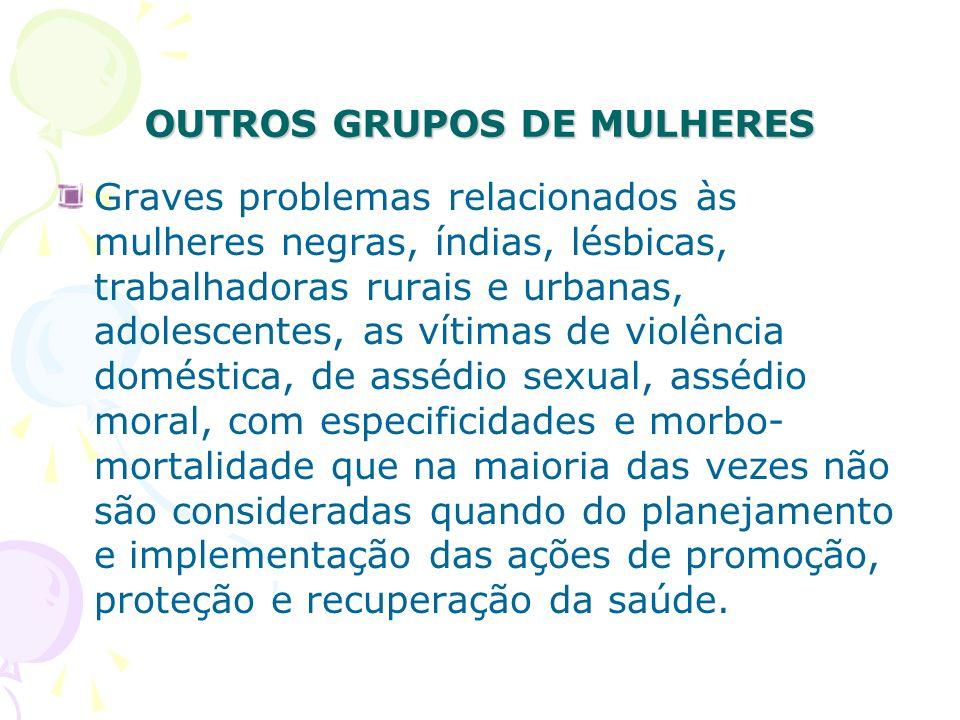 OUTROS GRUPOS DE MULHERES Graves problemas relacionados às mulheres negras, índias, lésbicas, trabalhadoras rurais e urbanas, adolescentes, as vítimas