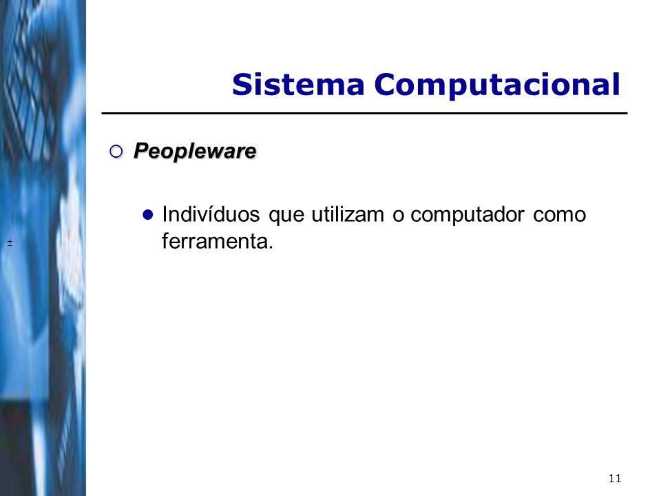 11 Peopleware Peopleware Indivíduos que utilizam o computador como ferramenta. Sistema Computacional
