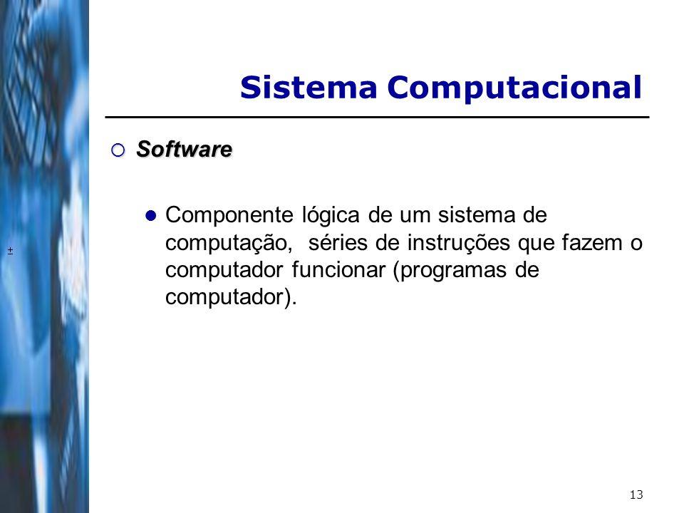 13 Software Software Componente lógica de um sistema de computação, séries de instruções que fazem o computador funcionar (programas de computador).