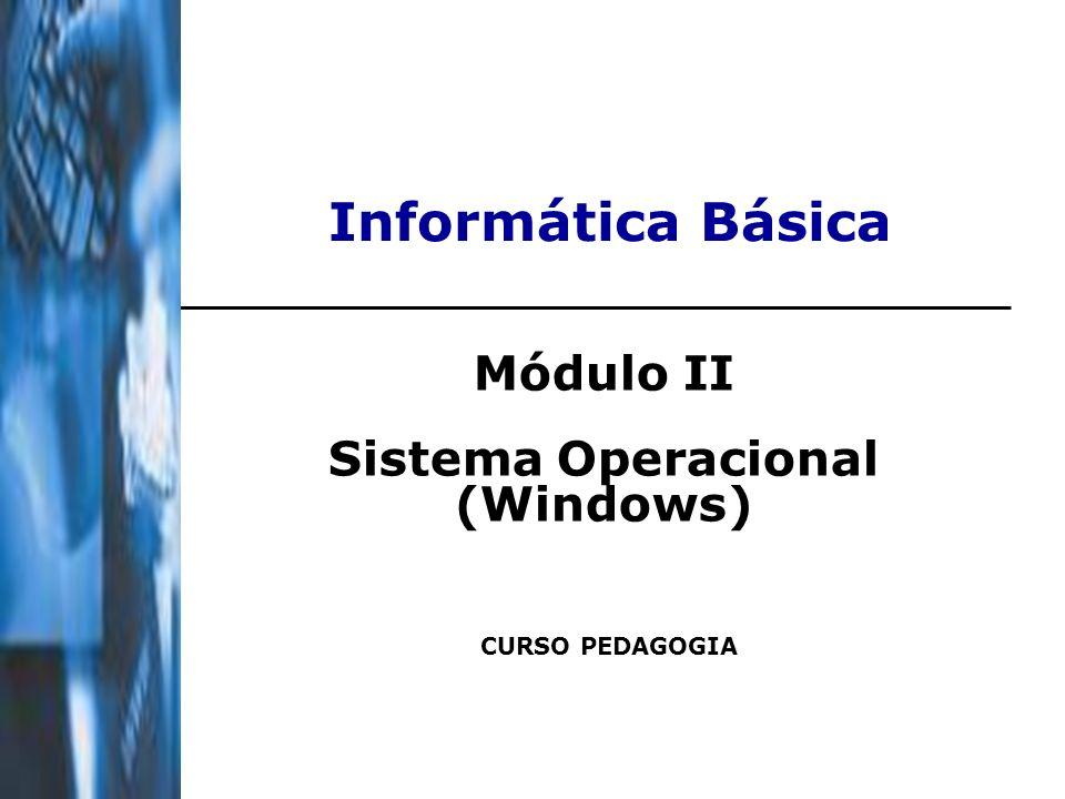 Informática Básica Módulo II Sistema Operacional (Windows) CURSO PEDAGOGIA