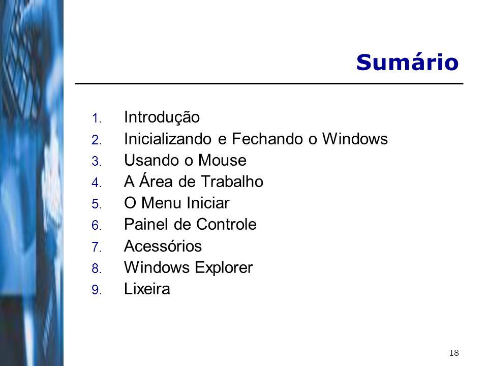 18 Sumário 1. Introdução 2. Inicializando e Fechando o Windows 3. Usando o Mouse 4. A Área de Trabalho 5. O Menu Iniciar 6. Painel de Controle 7. Aces