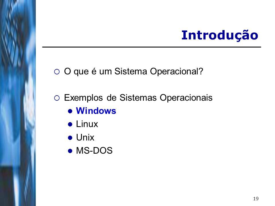 19 Introdução O que é um Sistema Operacional? Exemplos de Sistemas Operacionais Windows Linux Unix MS-DOS