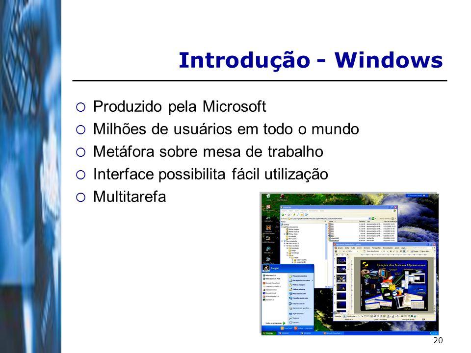20 Introdução - Windows Produzido pela Microsoft Milhões de usuários em todo o mundo Metáfora sobre mesa de trabalho Interface possibilita fácil utilização Multitarefa