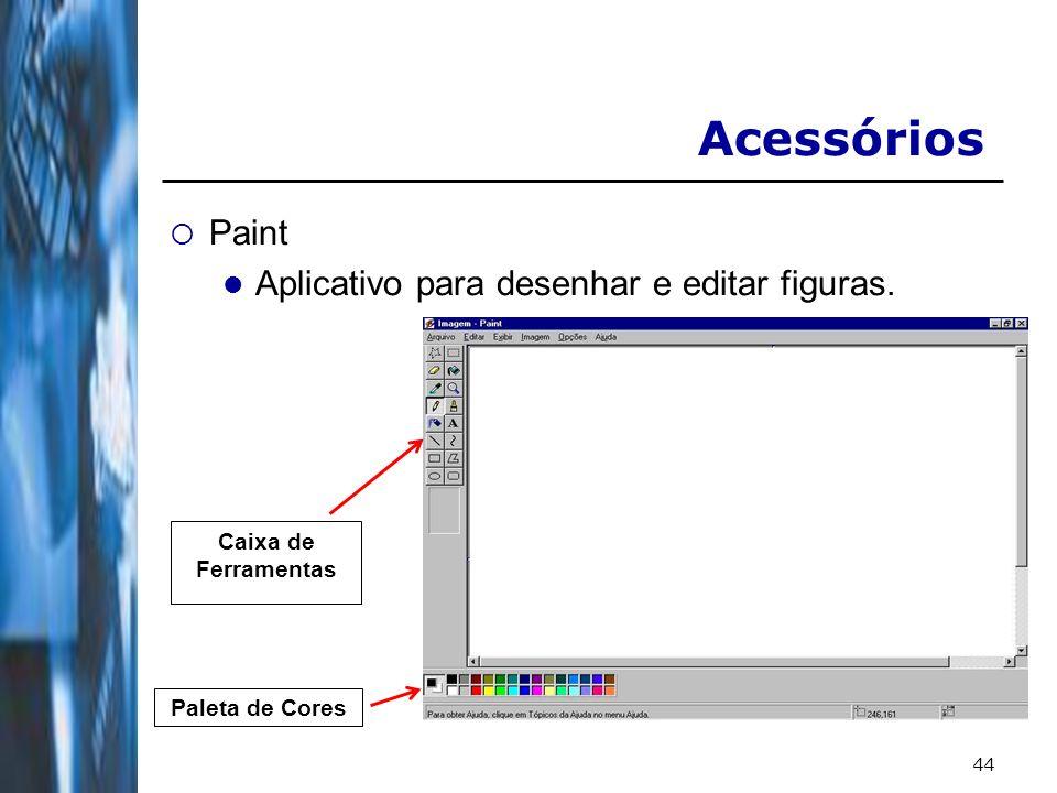 44 Acessórios Paint Aplicativo para desenhar e editar figuras. Paleta de Cores Caixa de Ferramentas