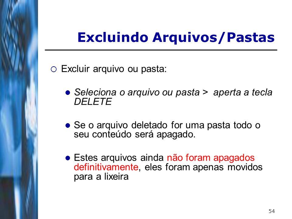 54 Excluir arquivo ou pasta: Seleciona o arquivo ou pasta > aperta a tecla DELETE Se o arquivo deletado for uma pasta todo o seu conteúdo será apagado