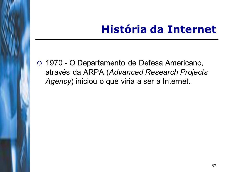 62 História da Internet 1970 - O Departamento de Defesa Americano, através da ARPA (Advanced Research Projects Agency) iniciou o que viria a ser a Internet.