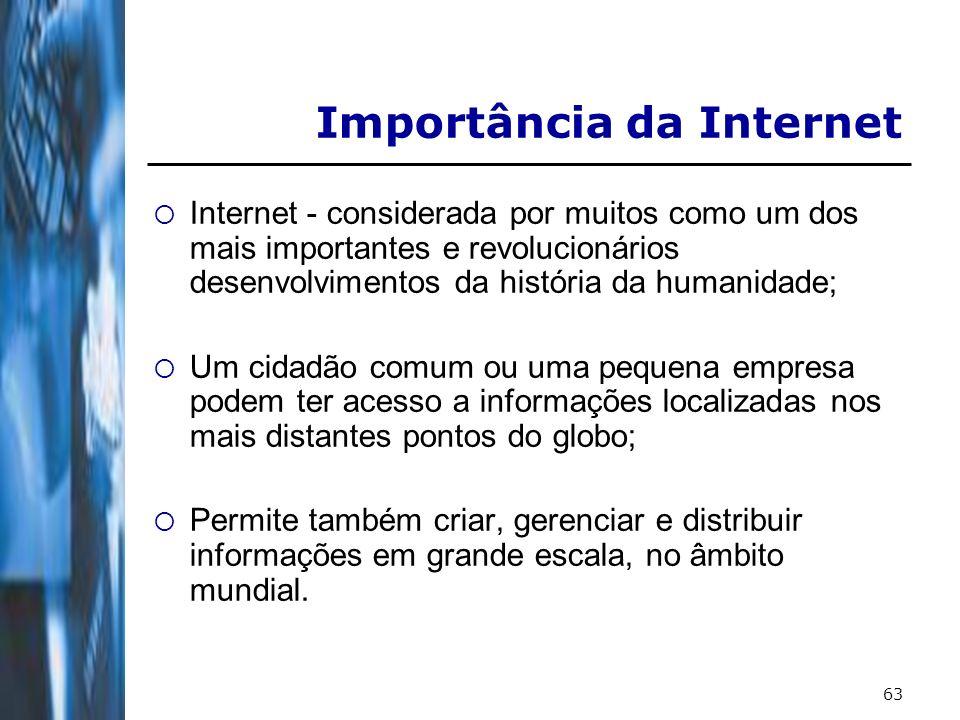 63 Importância da Internet Internet - considerada por muitos como um dos mais importantes e revolucionários desenvolvimentos da história da humanidade