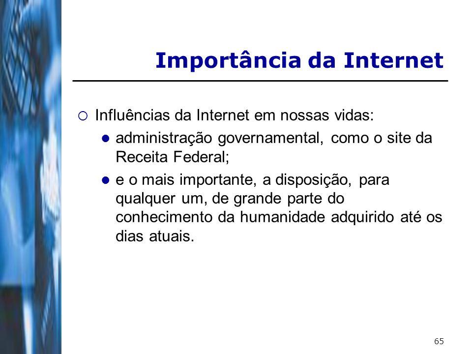 65 Importância da Internet Influências da Internet em nossas vidas: administração governamental, como o site da Receita Federal; e o mais importante, a disposição, para qualquer um, de grande parte do conhecimento da humanidade adquirido até os dias atuais.