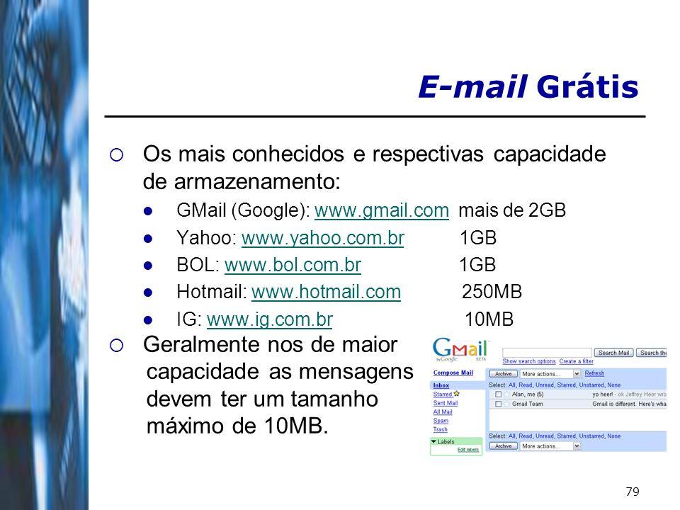 79 E-mail Grátis Os mais conhecidos e respectivas capacidade de armazenamento: GMail (Google): www.gmail.com mais de 2GBwww.gmail.com Yahoo: www.yahoo