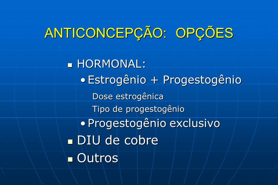 ANTICONCEPÇÃO: OPÇÕES HORMONAL: HORMONAL: Estrogênio + ProgestogênioEstrogênio + Progestogênio Dose estrogênica Tipo de progestogênio Progestogênio ex