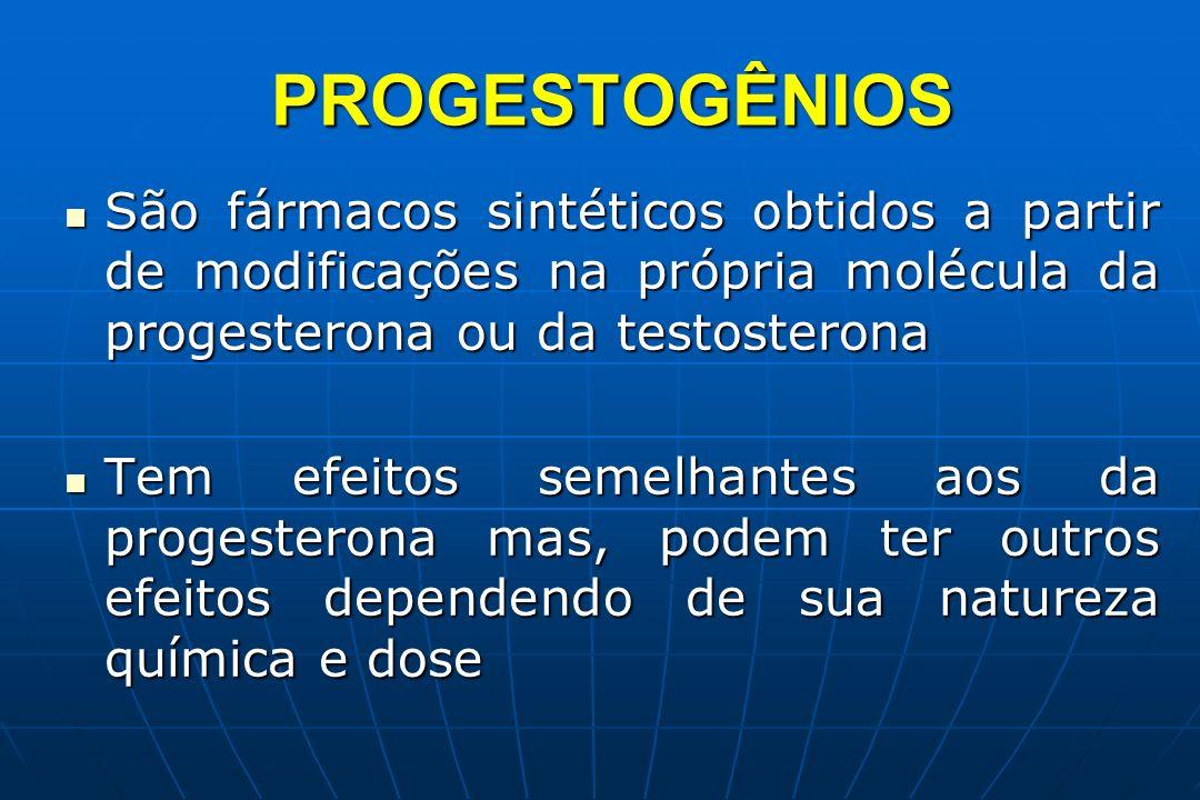 PROGESTOGÊNIOS São fármacos sintéticos obtidos a partir de modificações na própria molécula da progesterona ou da testosterona São fármacos sintéticos
