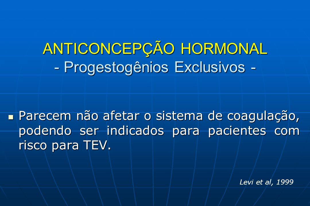 ANTICONCEPÇÃO HORMONAL -Tromboembolismo Venoso - ProgestogênioRisco TEV LevonorgestrelDesogestrelGestodenoDrospirenonaCiproterona 2 vezes 3,6 vezes 4 vezes 8 vezes Vlieg et al., 2009 Lidegaard et al., 2009