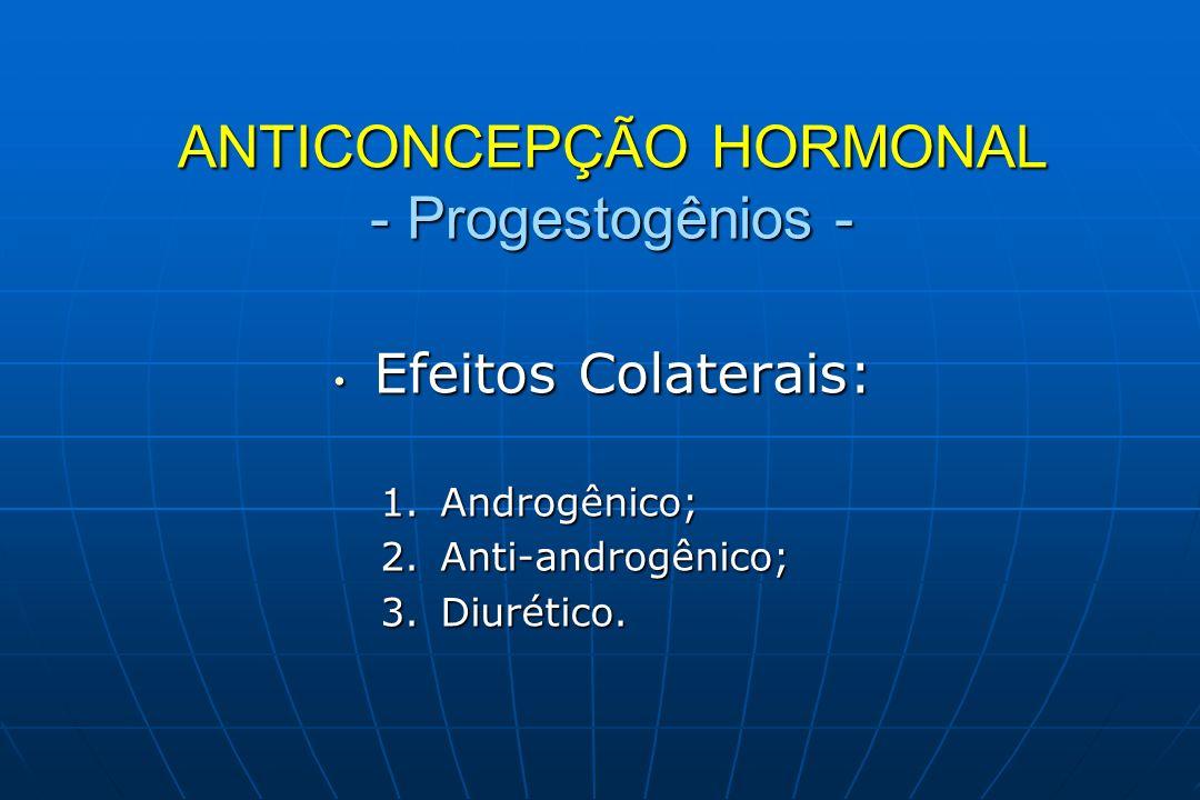 Efeitos Colaterais: Efeitos Colaterais: 1.Androgênico; 2.Anti-androgênico; 3.Diurético. ANTICONCEPÇÃO HORMONAL - Progestogênios -