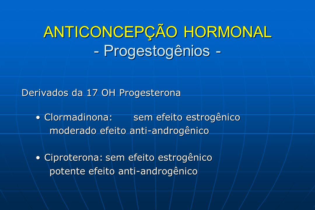 Derivado da Espironolactona Drospirenona:sem efeito estrogênico Drospirenona:sem efeito estrogênico tem efeito anti-androgênico tem efeito anti-mineralocorticóide (ação diurética) (ação diurética) ANTICONCEPÇÃO HORMONAL - Progestogênios -