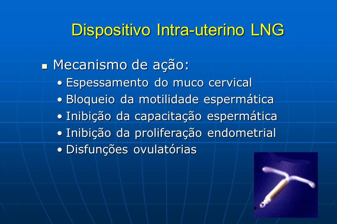 Dispositivo Intra-uterino LNG Mecanismo de ação: Mecanismo de ação: Espessamento do muco cervicalEspessamento do muco cervical Bloqueio da motilidade