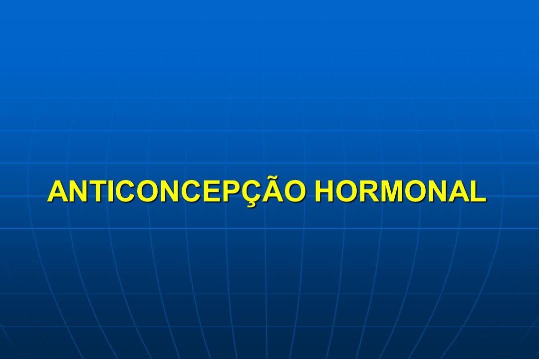 ANTICONCEPCIONAIS HORMONAIS Composição : Composição : Estrogênio + Progestogênio Estrogênio + Progestogênio Progestogênio exclusivo Progestogênio exclusivo Estrogênio Etinilestradiol Estrogênio Etinilestradiol Cipionato de estradiol Cipionato de estradiol Valerato de estradiol Progestogênio Progestogênio RetroprogesteronaAlgestona acetofenida RetroprogesteronaAlgestona acetofenida 19-NortestosteronaEstranos: noretisterona, dienogest 19-NortestosteronaEstranos: noretisterona, dienogest Gonanos: LNG, desogestrel, gestodeno norgestimato 17 OH-progesterona:Acetato de ciproterona 17 OH-progesterona:Acetato de ciproterona AMP, clormadinona Espironolactona: Drospirenona Espironolactona: Drospirenona