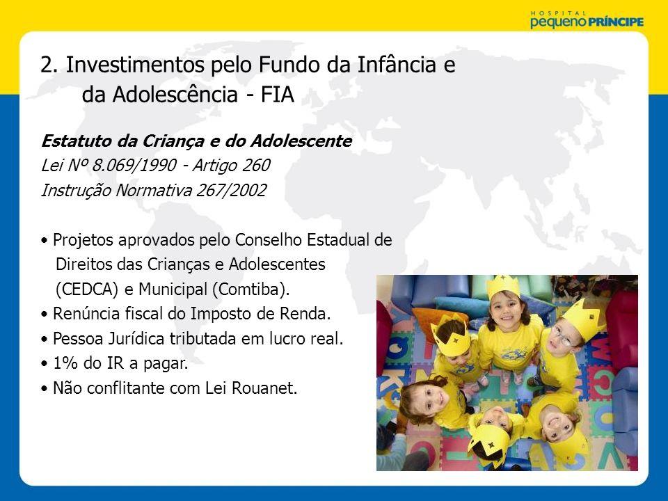 2. Investimentos pelo Fundo da Infância e da Adolescência - FIA Estatuto da Criança e do Adolescente Lei Nº 8.069/1990 - Artigo 260 Instrução Normativ