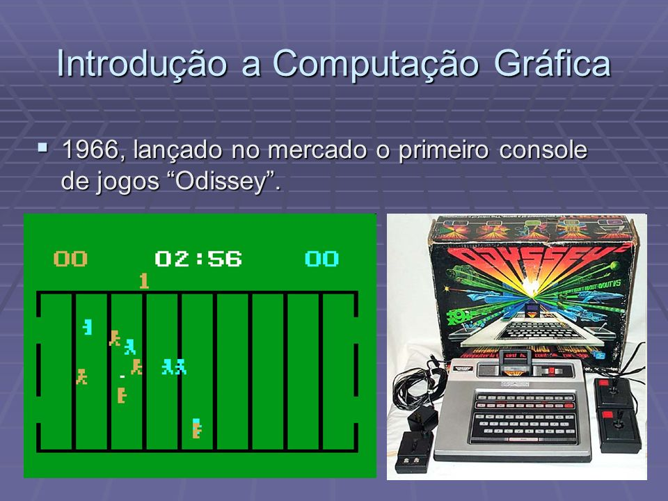 1966, lançado no mercado o primeiro console de jogos Odissey. 1966, lançado no mercado o primeiro console de jogos Odissey.