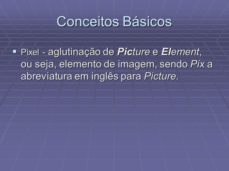 Conceitos Básicos Pixel - aglutinação de Picture e Element, ou seja, elemento de imagem, sendo Pix a abreviatura em inglês para Picture. Pixel - aglut