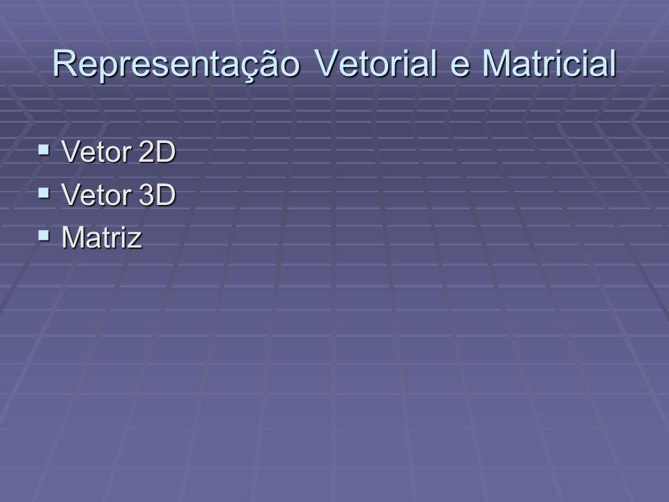 Representação Vetorial e Matricial Vetor 2D Vetor 2D Vetor 3D Vetor 3D Matriz Matriz