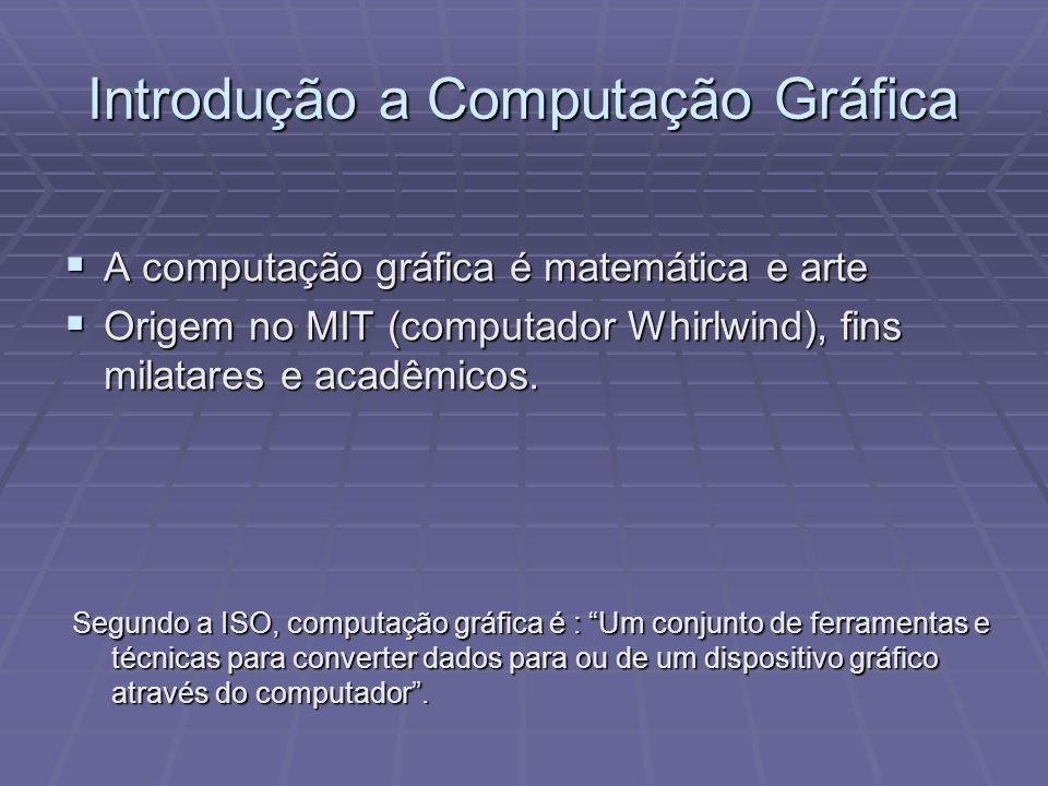 Introdução a Computação Gráfica A computação gráfica é matemática e arte A computação gráfica é matemática e arte Origem no MIT (computador Whirlwind)