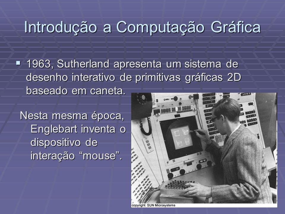 Introdução a Computação Gráfica 1963, Sutherland apresenta um sistema de desenho interativo de primitivas gráficas 2D baseado em caneta. 1963, Sutherl