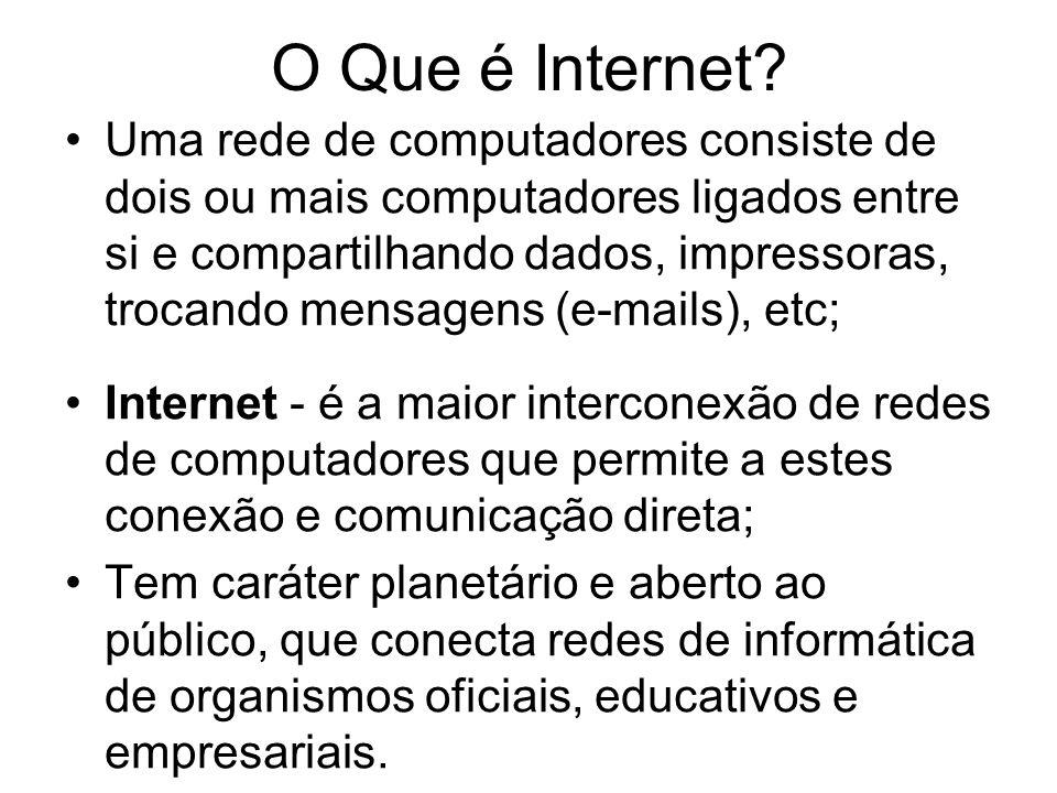 O Que é Internet? Uma rede de computadores consiste de dois ou mais computadores ligados entre si e compartilhando dados, impressoras, trocando mensag
