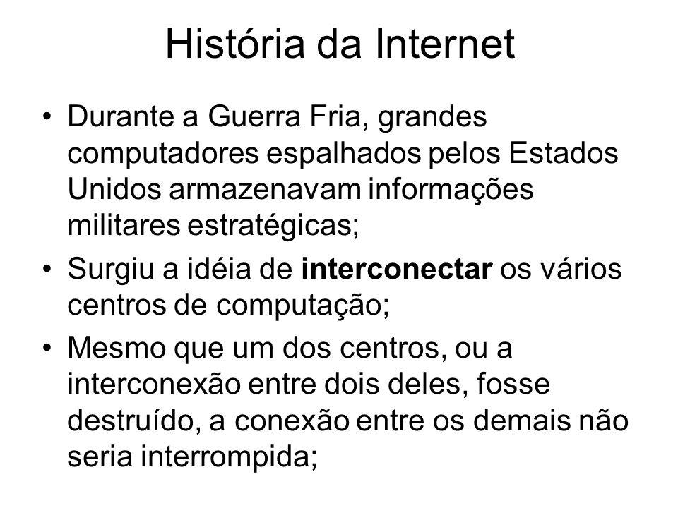 História da Internet Durante a Guerra Fria, grandes computadores espalhados pelos Estados Unidos armazenavam informações militares estratégicas; Surgi