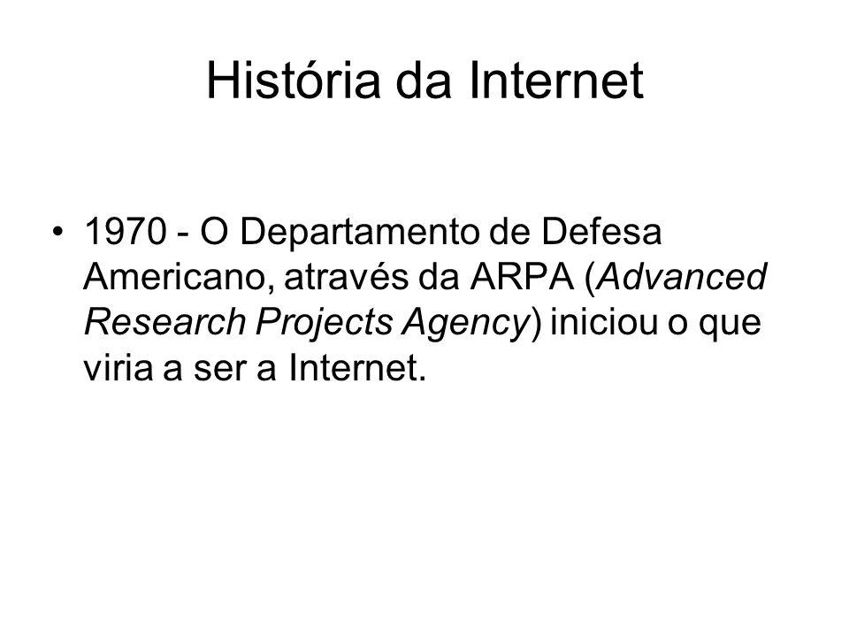 História da Internet 1970 - O Departamento de Defesa Americano, através da ARPA (Advanced Research Projects Agency) iniciou o que viria a ser a Intern