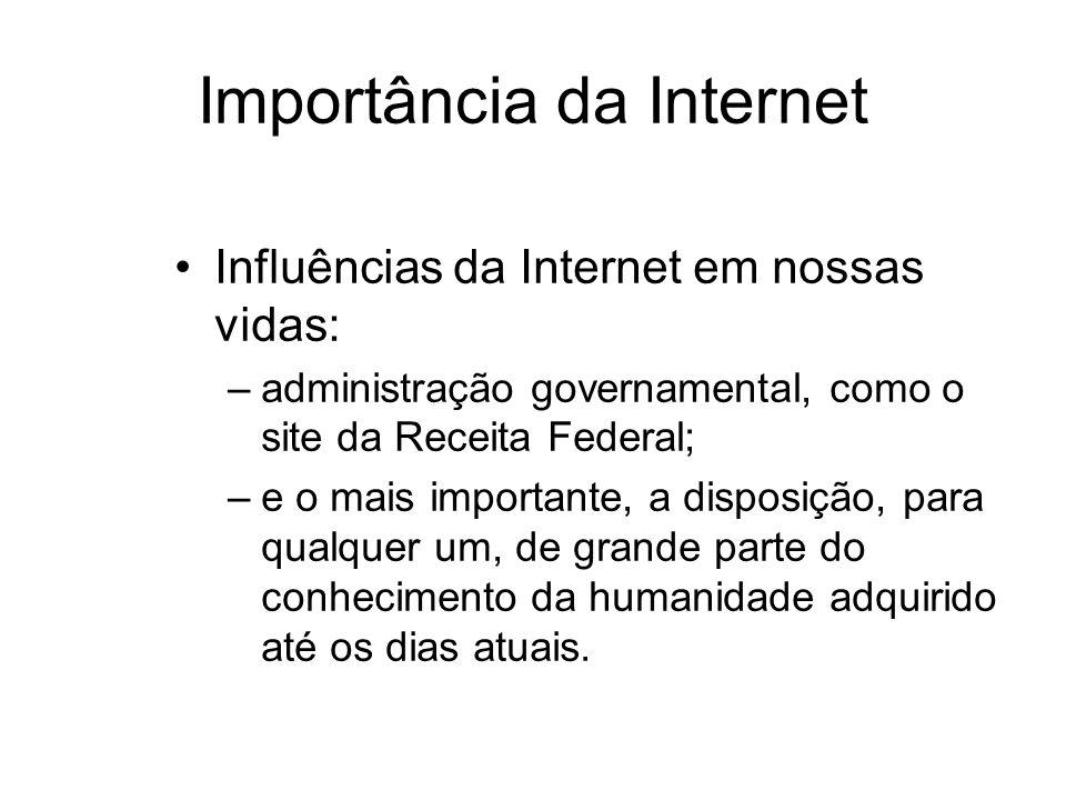 Importância da Internet Influências da Internet em nossas vidas: –administração governamental, como o site da Receita Federal; –e o mais importante, a